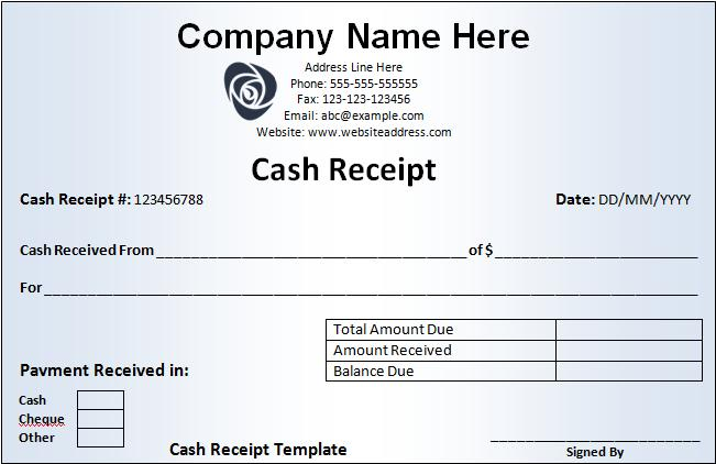 Cash Receipt Template Samples