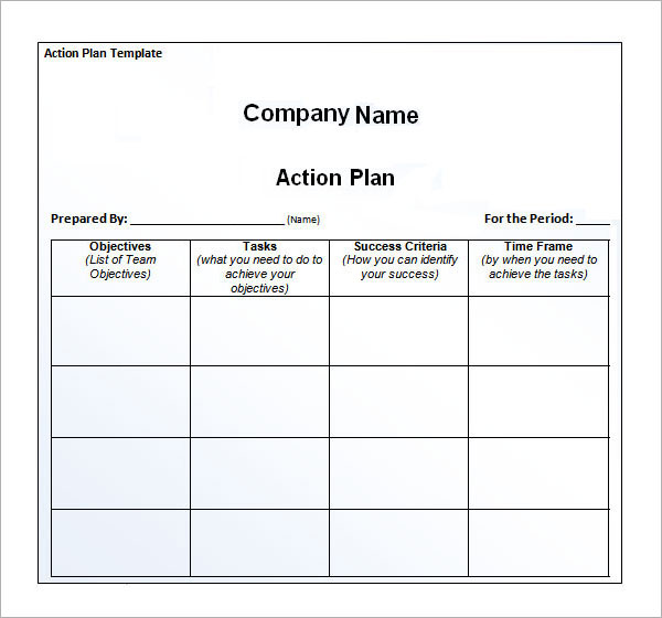 Company Action Plan Paper Printable Templates