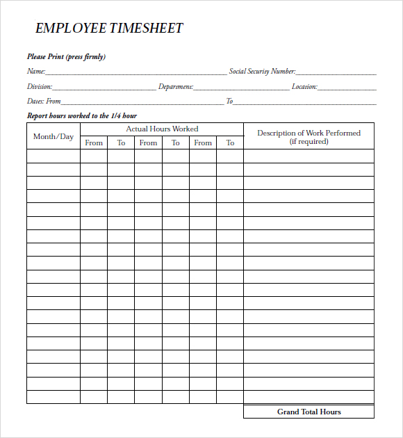 paper Payrol Templates – Free Printable Payroll Forms