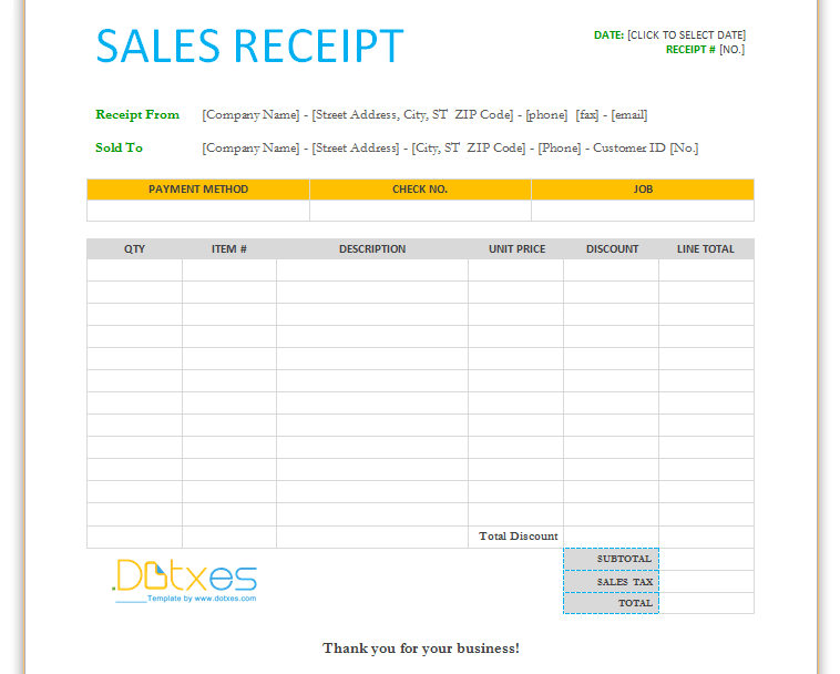 Free Printable Sales Receipt Templates