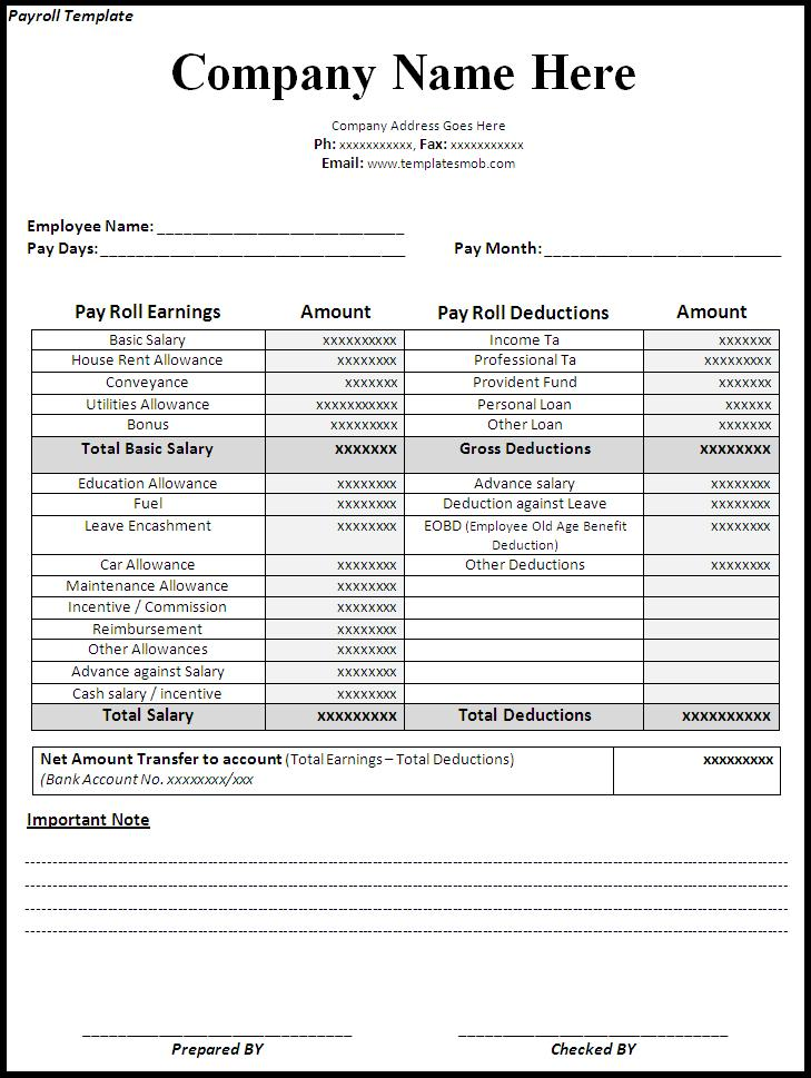 Payroll Form Sample  BesikEightyCo