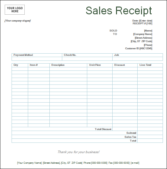 paper Sales-Receipt-templates