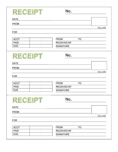 templates for receipts