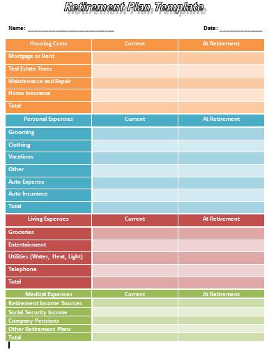 Retirement-Plan-plan paper printable templates