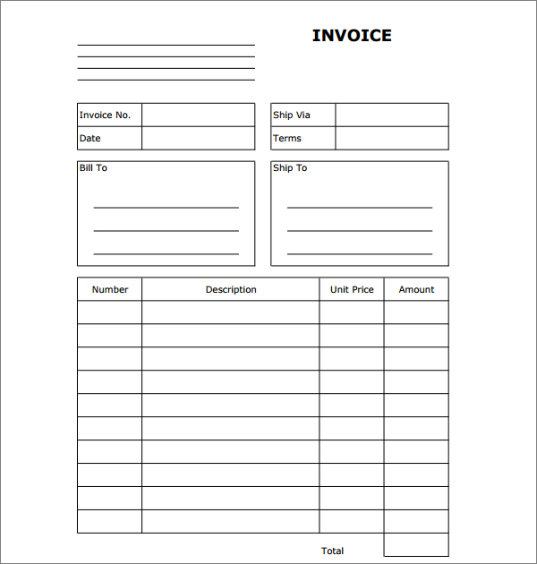 Sample Blank Print Paper Invoice Templates  Business Invoice Templates Free