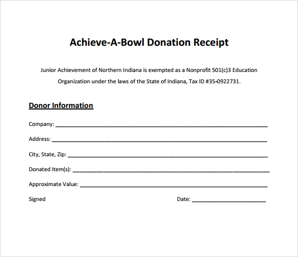 Donation Paper Template Idealstalist