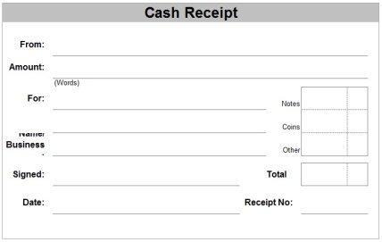cash receipt templates paper printable