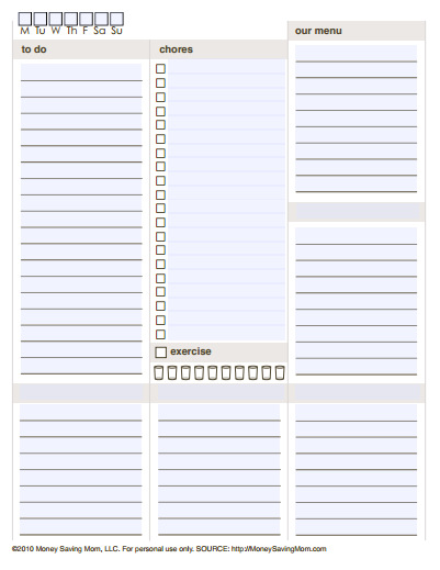 long printable Daily Planner Templates