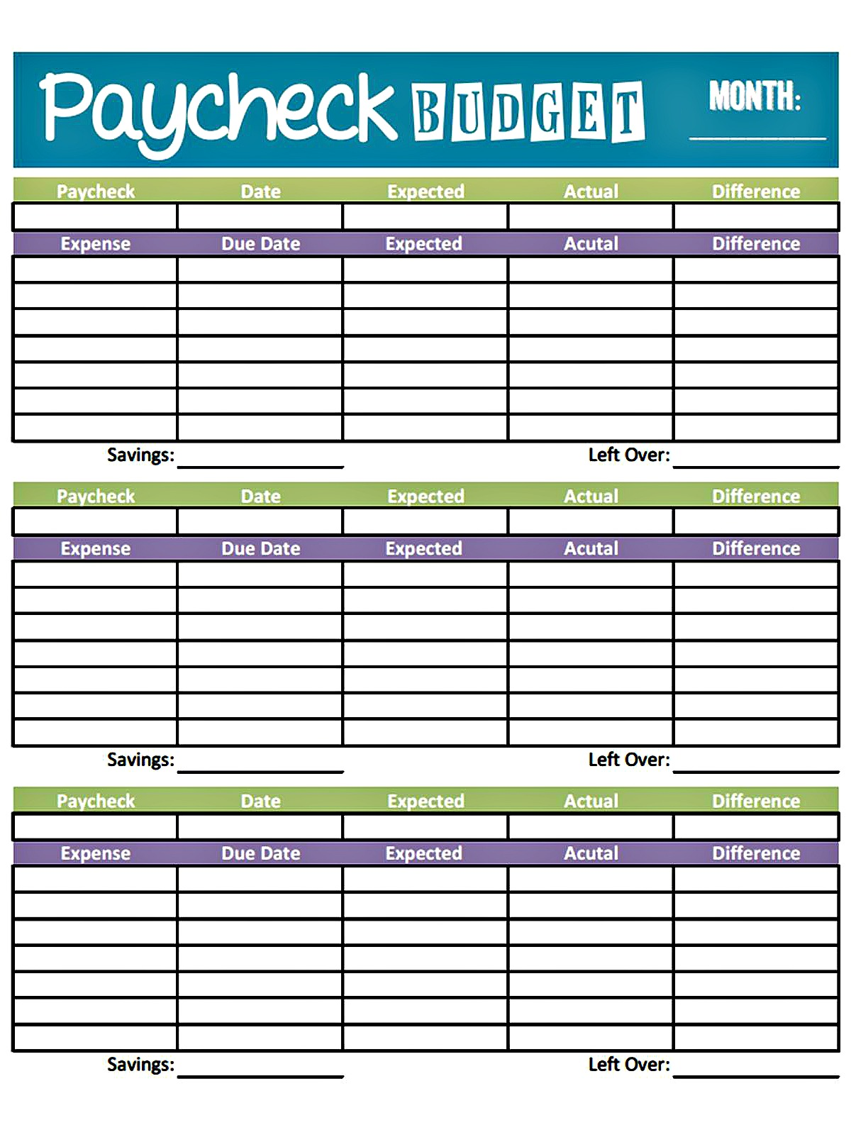paycheck budget form-Printable Paper Budgets Samples