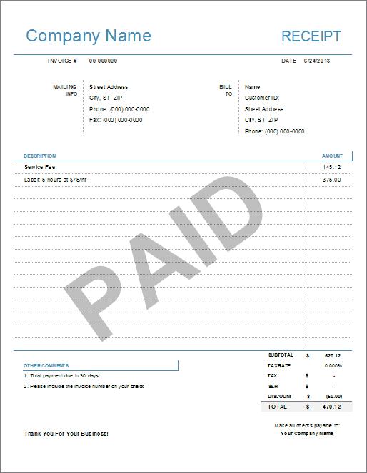 Receipt Templates – Sample Printable Receipt