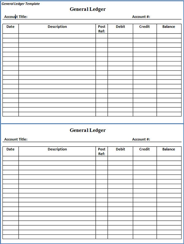 Doc951646 Printable Accounting Ledger General Ledger Sheet – Accounting Ledgers Templates