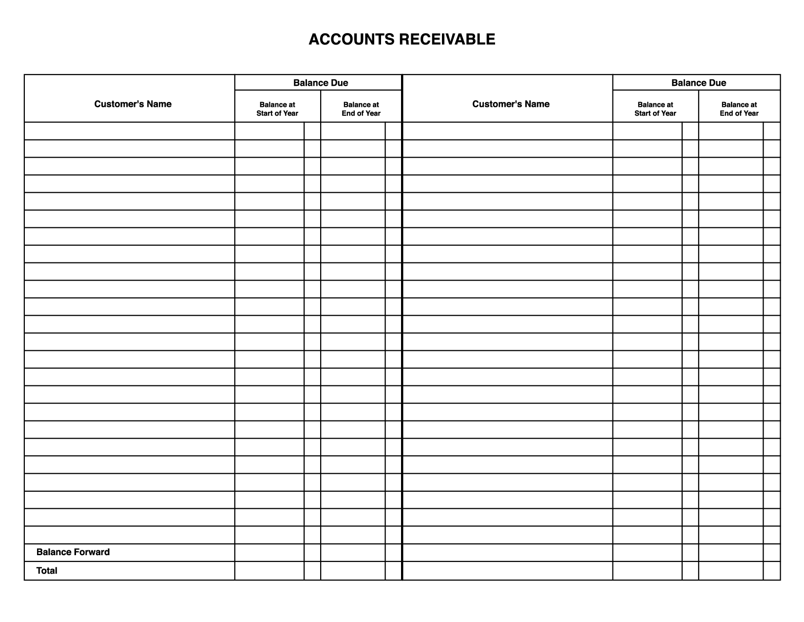 Formatted Business General Ledger Template  General Ledger Form