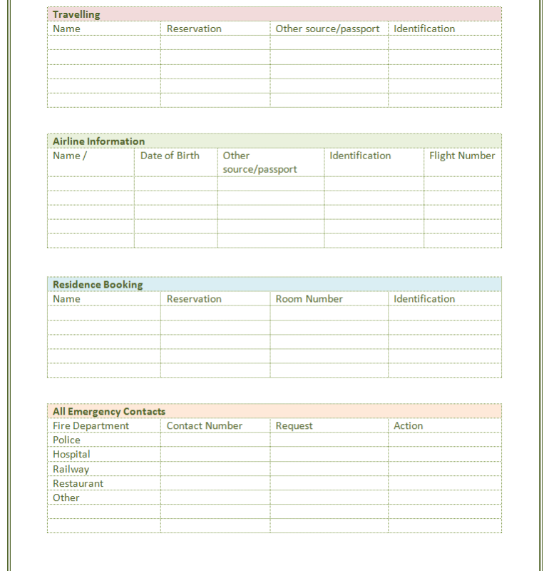 Superb Printable Contact List Template Inside Contact Template Word