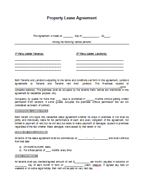 Lease Forms Free Print Lease Extension FormResidential Lease – Free Printable Rental Lease Agreement