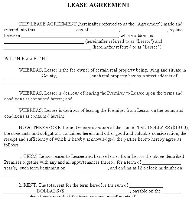 Property California Lease Printable Rent Paper Template  Lease Document Template