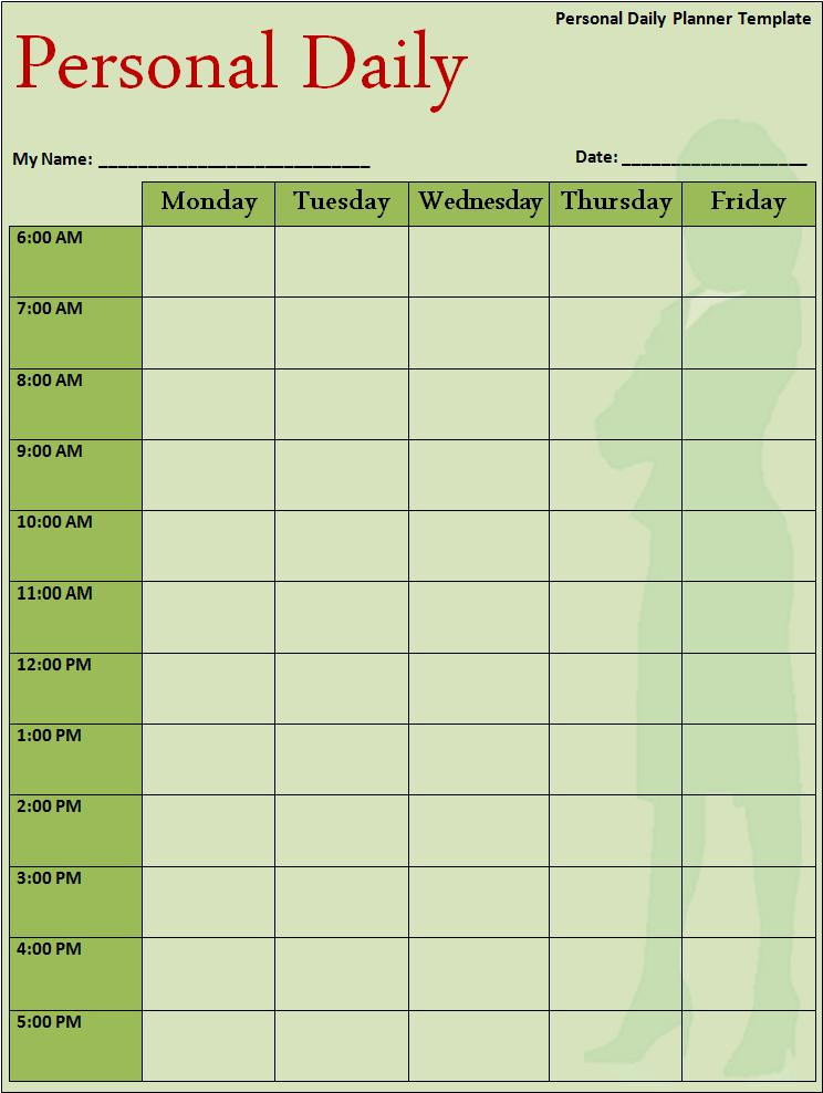 Daily Planner Papers Planner Template  Planner Template Word