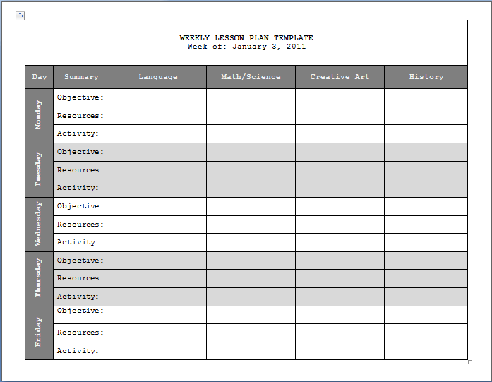 Printale Paper Lesson Plan Template Updated  Weekly Invoice Template