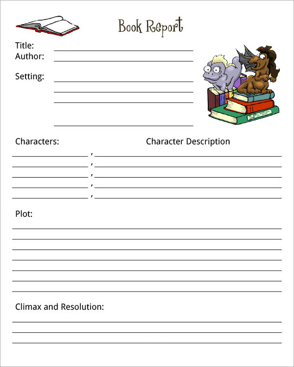 Book Report Template  Print Paper Templates