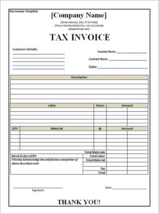 invoices tax paper template printable