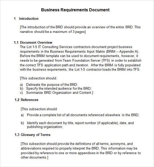 Business requirements document templates printable paper word accmission Images
