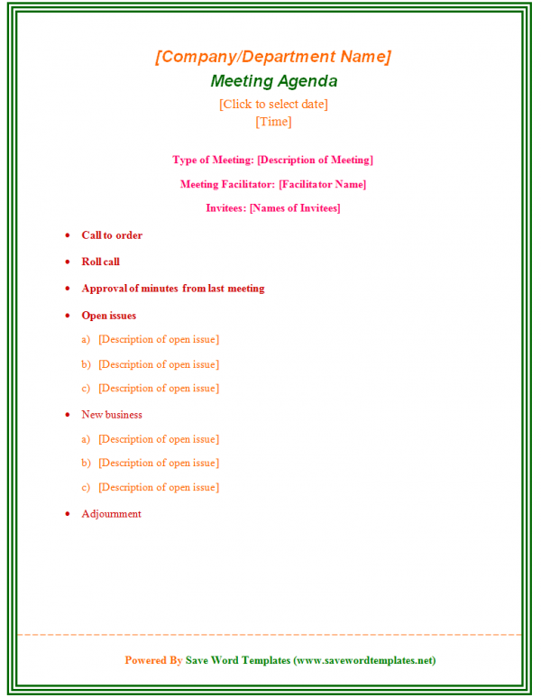 Doc Simple Meeting Agenda Paper Templates Pdf