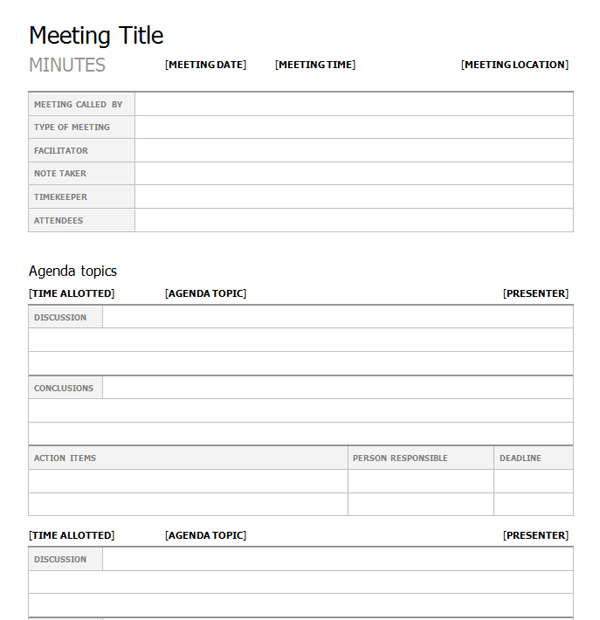 Meeting Minutes Template Print Paper Templates
