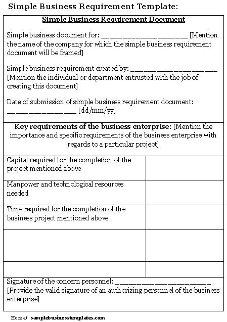 Business requirements template templates printable paper wajeb Gallery