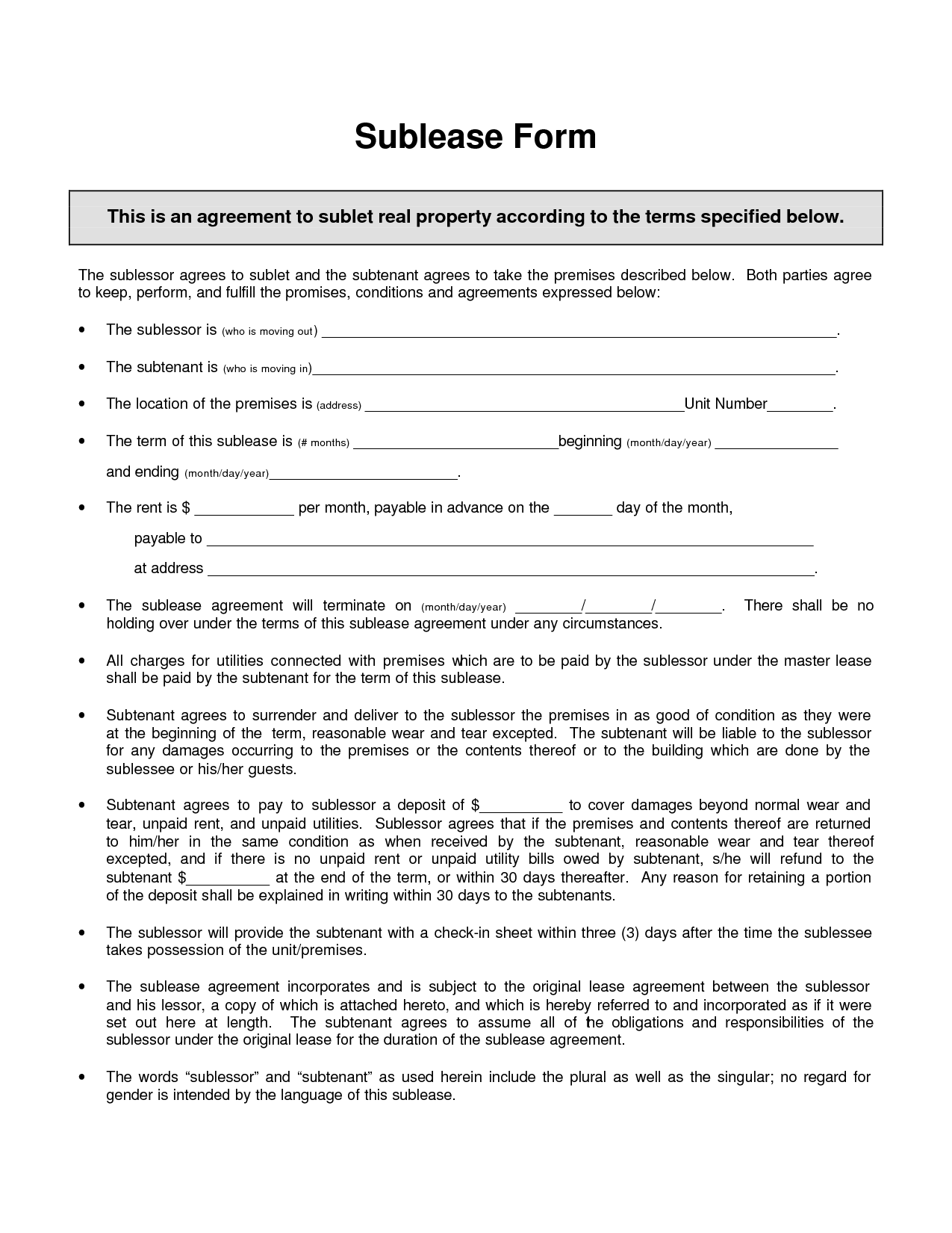 Index of wpcontentuploads201611 – Sublet Agreement Template