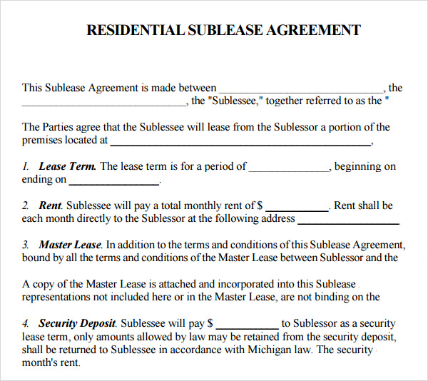 residential sublease agreement template. Black Bedroom Furniture Sets. Home Design Ideas
