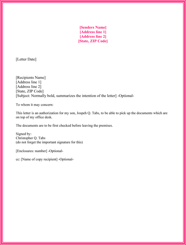 Sample Of An Authorization Letter To Bank - format of ...