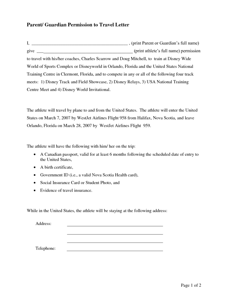 Parental Consent Letter Template – Parents Consent Letter for Work