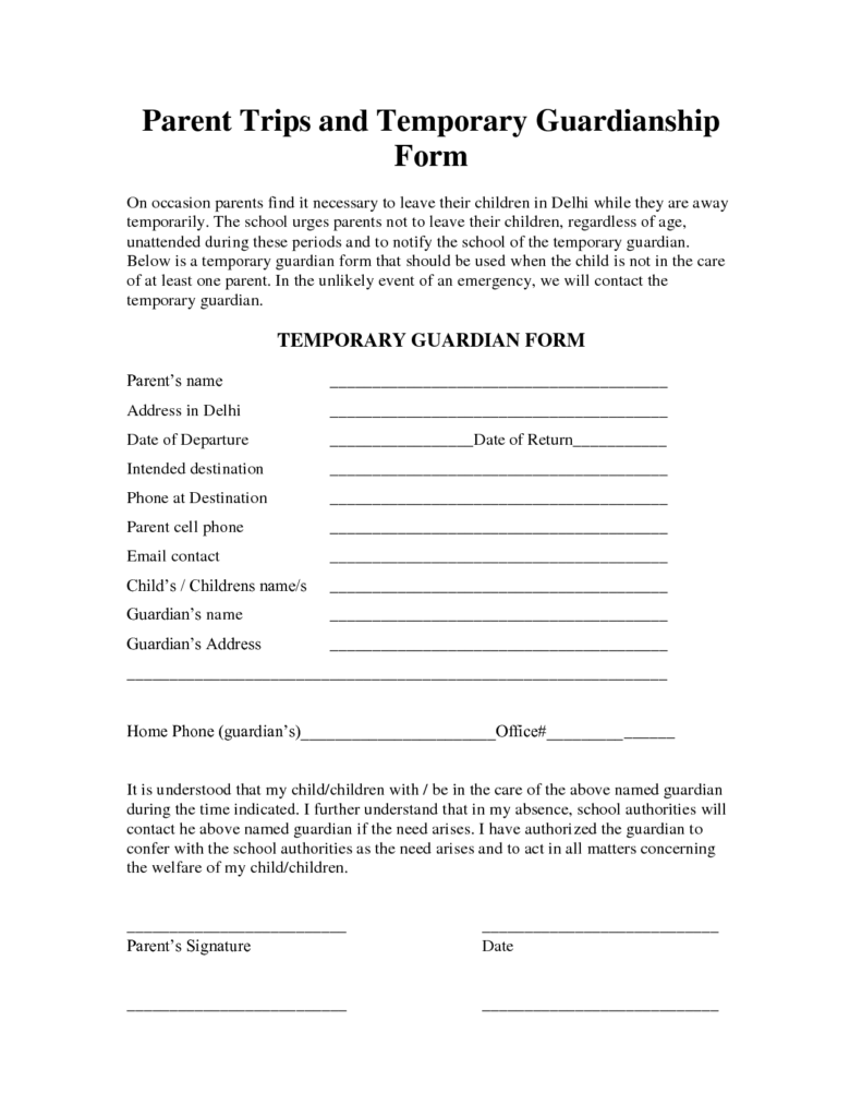 Guardianship Paper Form Templates – Temporary Guardianship Forms