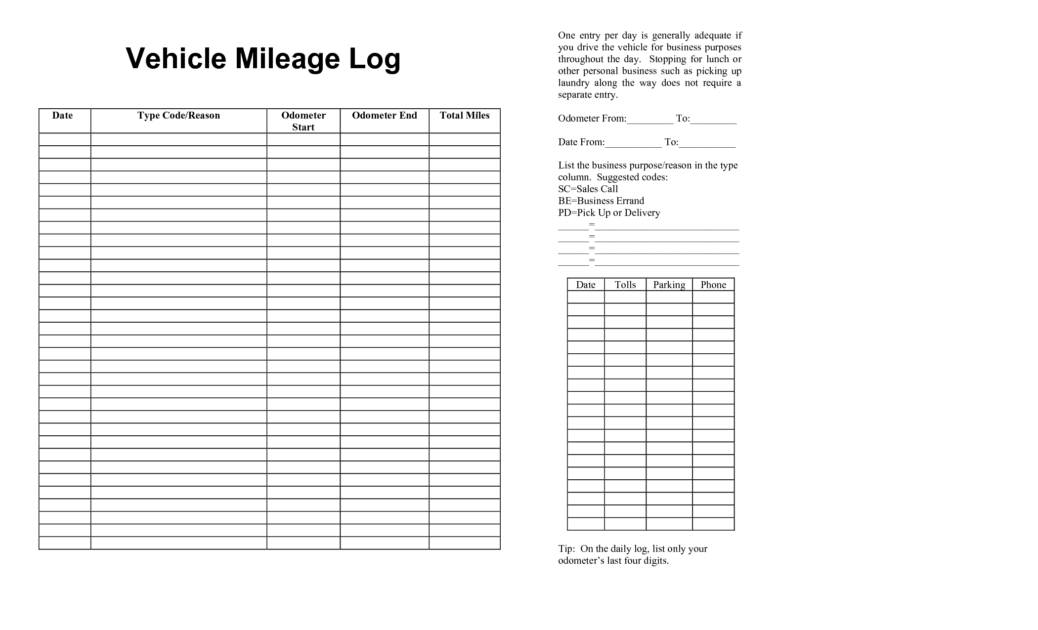 Vehicle Mileage Log Template 630954