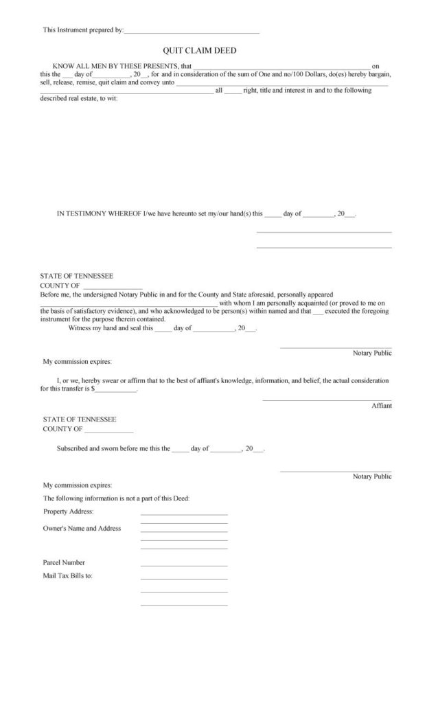 Quit Claim Deed Template PDF
