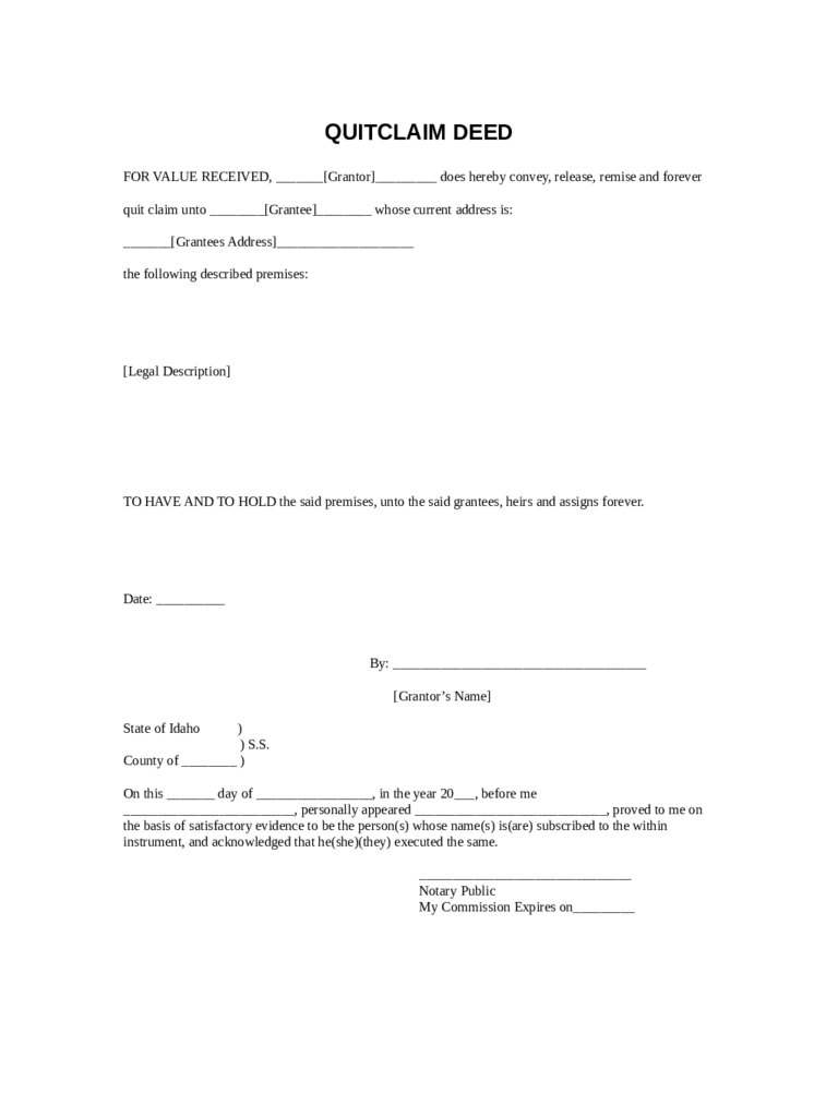 Nice Sample Quitclaim Deed Template Idaho PDF