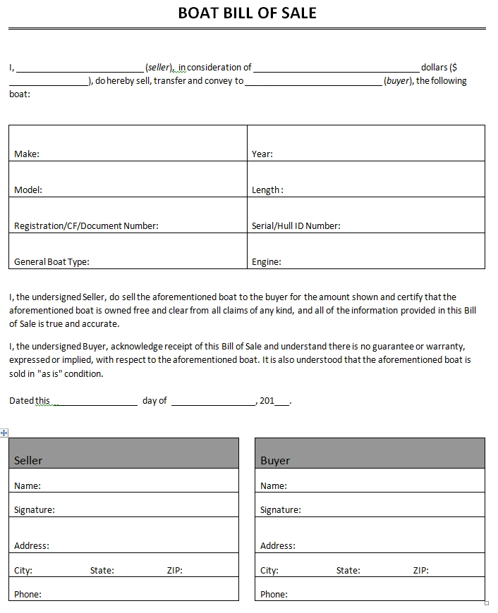 Bill Of Sale Boat Template Blank Doc  Bill Of Sale Template Doc