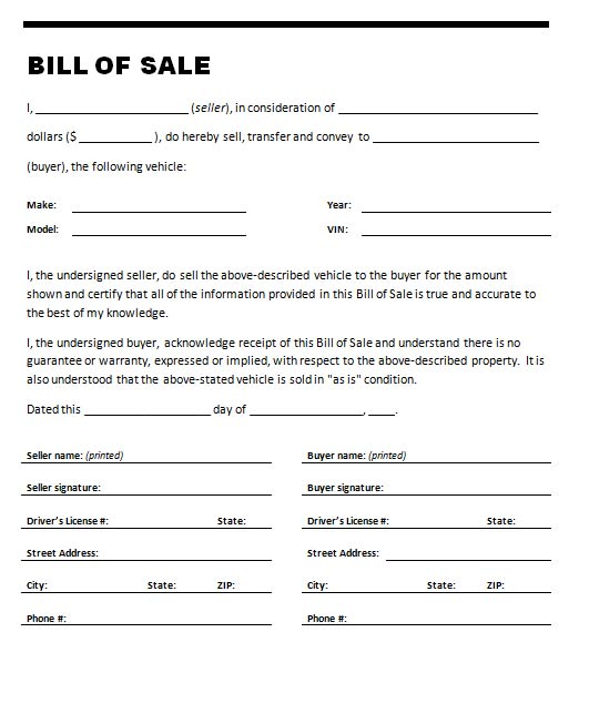 Free Bill of Sale Templates – Motorcycle Bill of Sales