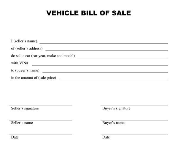 New Blank Bill Of Sale Template