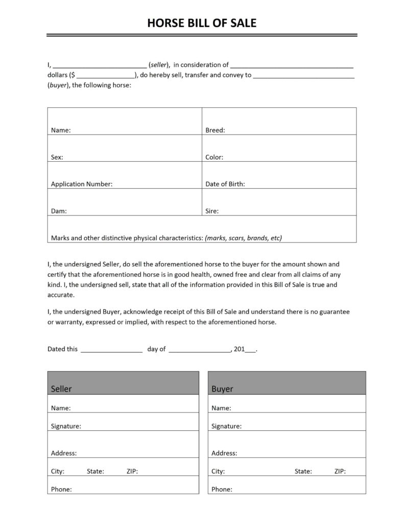 Free Horse Bill of Sale Template Print Paper Templates