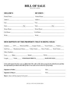 bill of sale printable template