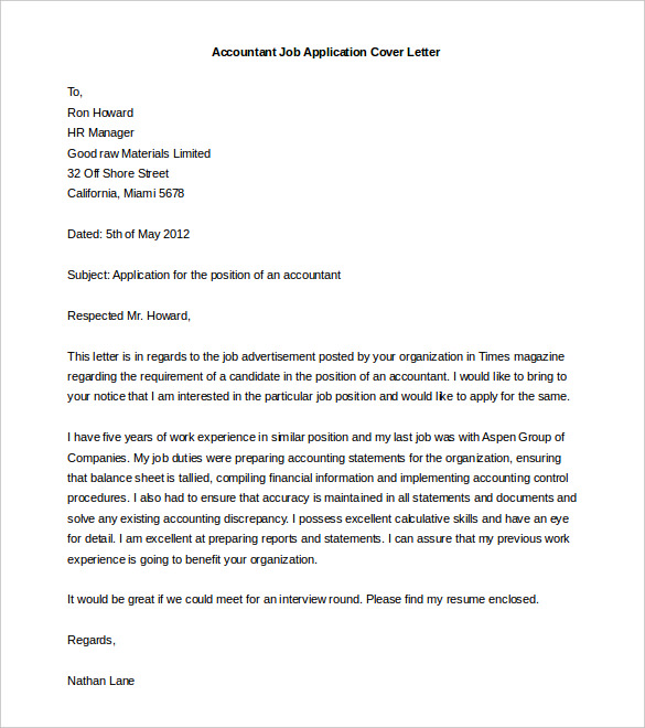 Printable cover letter template