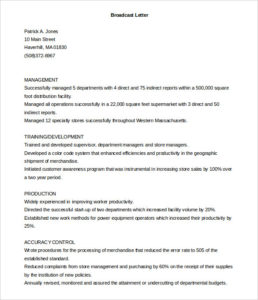 Printable Broadcast Cover Letter Template