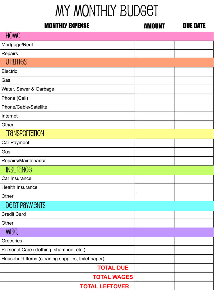 Budget planner worksheets print paper templates for Budgeting sheets template