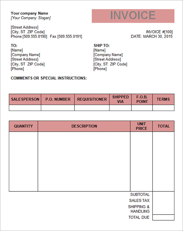 Printable Tax Invoice Template Word Pdf