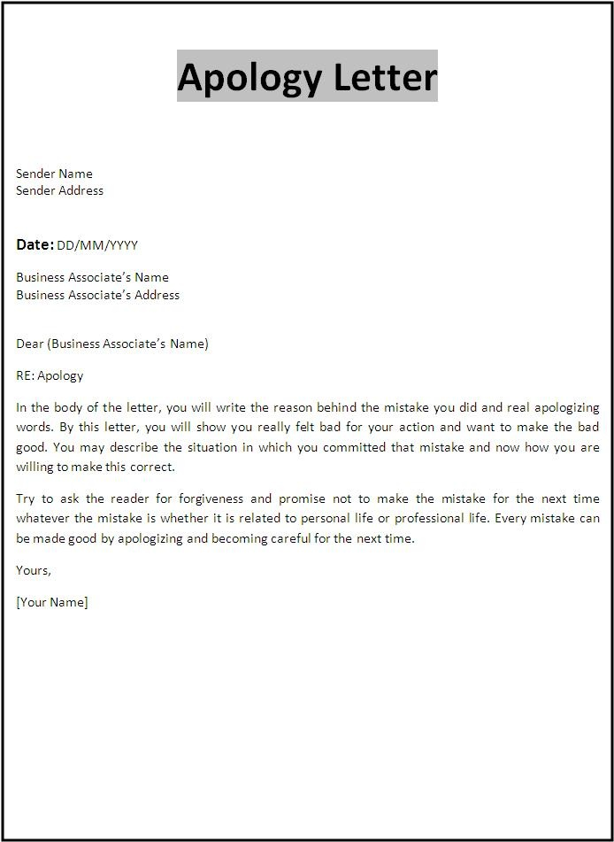 Professional Apology Letter – Free Sample Letters