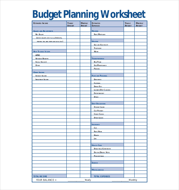 Budget planner templates print paper templates for Budgeting sheets template