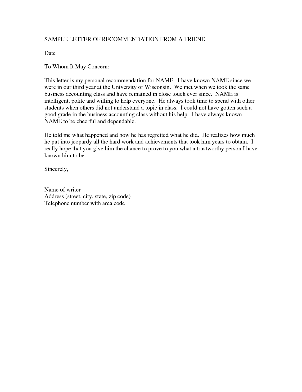 Letter For A Friend For Immigration from www.printablepapertemplates.com
