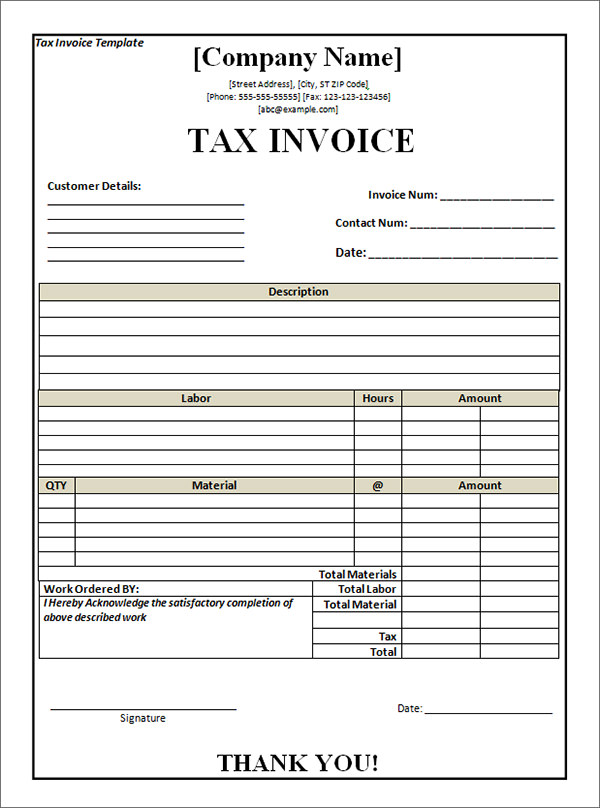 TaxInvoiceTemplatePdf - Invoice word template free