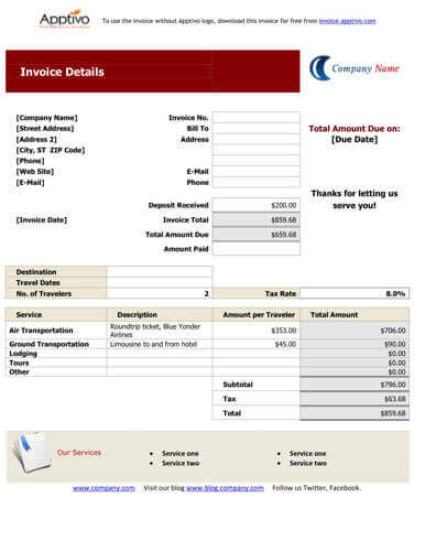 Invoice Format In Excel For Travel Agency. Excel Based Consulting