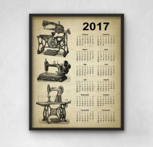 Vintage Sewing Machine Calendar 2017